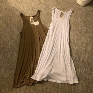 Free People Brown & white Bundle Sleeveless Long Tank Tops size Small NWTS